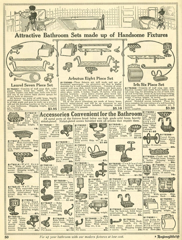 Bath accessories from 1910 Wards catalog.