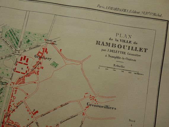 RAMBOUILLET old map of Rambouillet 1896 by DecorativePrints