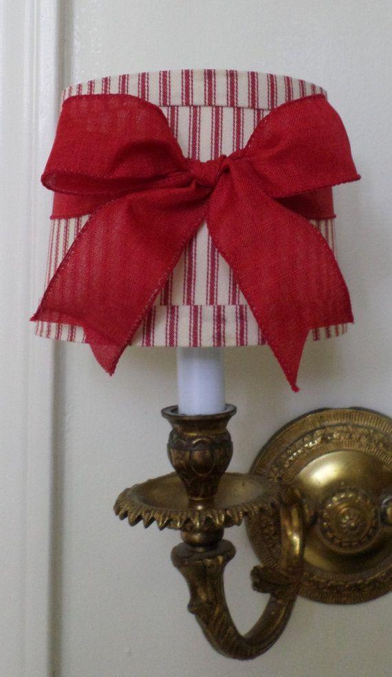 Mini abat-jour tambour pour lustre ou applique un rouge coutil tissu rouge lin Bow Français pays ou Cottage Chic