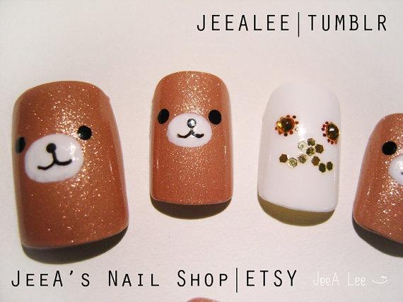 Rilakkuma Nails HandPainted Artificial / Fake Nails by jeealee, $45.00