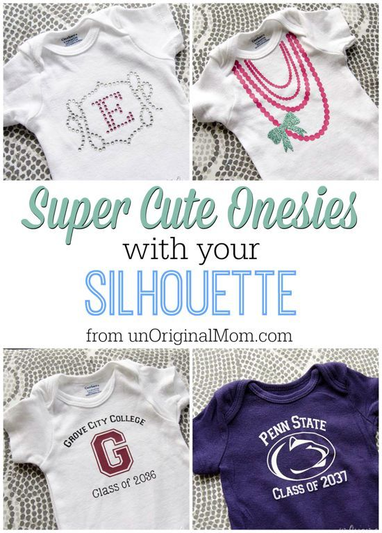 """Super Cute Onesies with your Silhouette! Think baby shower gifts galore - the possibilities are endless. And did we say, """"SUPER CUTE""""?"""