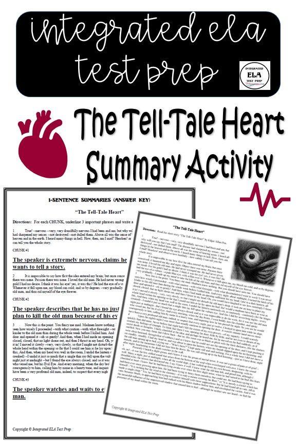 The Tell Tale Heart Summary Activity Edgar Allan Poe Short Stories Worksheet Pdf The Tell Tale Heart Summary Activities Short Stories