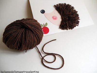 Questo piccolo riccio è realizzato con piccoli pezzetti di lana marrone.       Basta presentare al bambino una semplice sagoma fatta a goc...