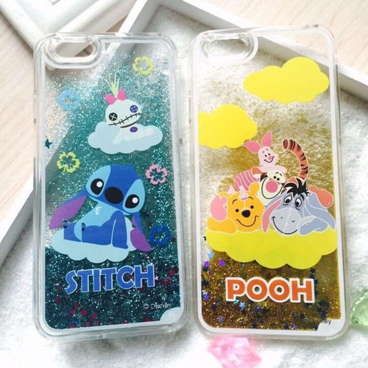 Hot cartoon disney stitch pooh Liquid Glitter case cover for apple iphone 6 plus #UnbrandedGeneric