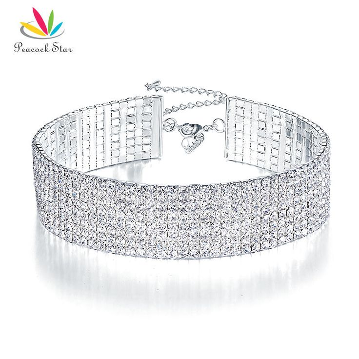 Peacock Star Trendy Wedding Party Prom Choker Necklace 8 Row Stretch Crystal Rhinestone w/ Elastic Cord Pageant CC018