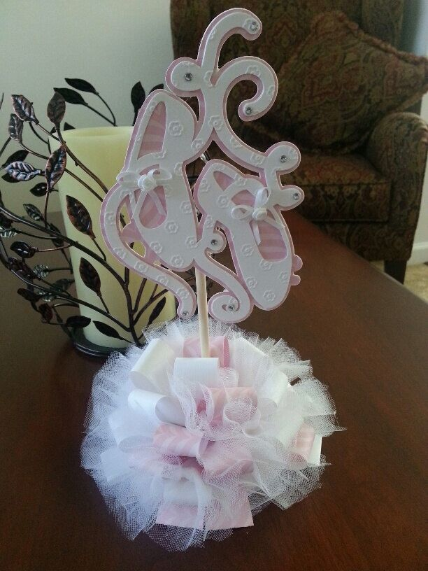 Ballerina Baby Shower Centerpiece / Unique Shower Centerpiece / Ballerina Shower by TheCarriageShoppe on Etsy https://www.etsy.com/listing/201400111/ballerina-baby-shower-centerpiece-unique