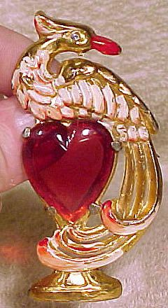 Art DECO Gilt Cherry Red Celluloid HEART and by FionaKennyAntiques