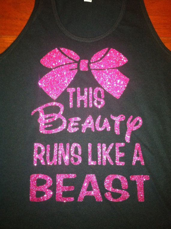 Forget the glass slipper, this princess wears running shoes! The design is in hot pink glitter on a black tank~ Colors can be changed! To