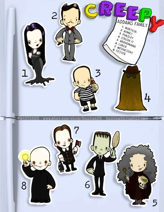 ADDAMS FAMILY Cute hand cut magnets. morticia pugsley gomez grandmama wednesday lurch cousin it fester