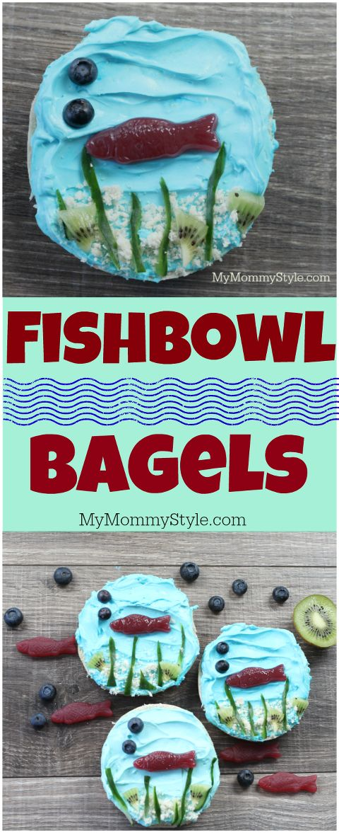 These fishbowl bagels are adorable! This would be perfect for an under the sea party, mermaid party, fish party, or even an after school snack! Seriously, so so cute! #ad