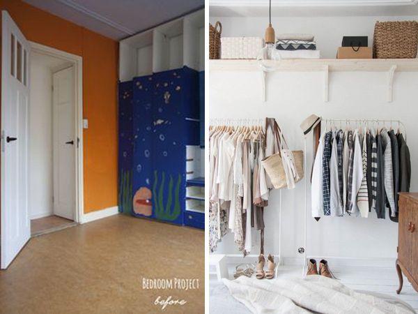 BEDROOM CLOSET BEFORE AFTER found on http://inredningsvis.se/ blog.