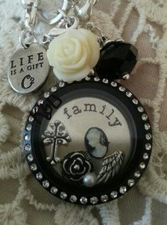 Origami Owl Living Locket- There's a lot of choices and you put together the one that fits you! #blackandwhite #gift