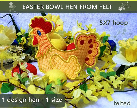 Easter Bowl Hen No.302 decoration felt  5x7hoop  by EmbroideryRady