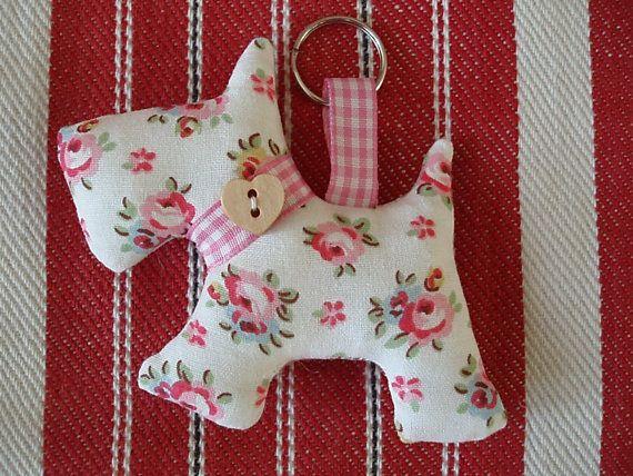 keyring, keychain,bag charm, scottie dog in Cath Kidston fabric