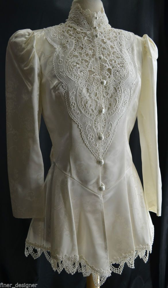 Vtg 80s Jessica McClintock Bridal Dress Suit Jacket Victorian Lace top Satin 8 M