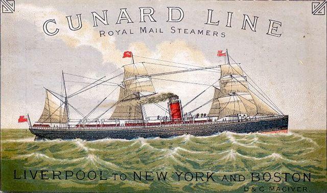 free nautical clip art Cunard Line ship at sea