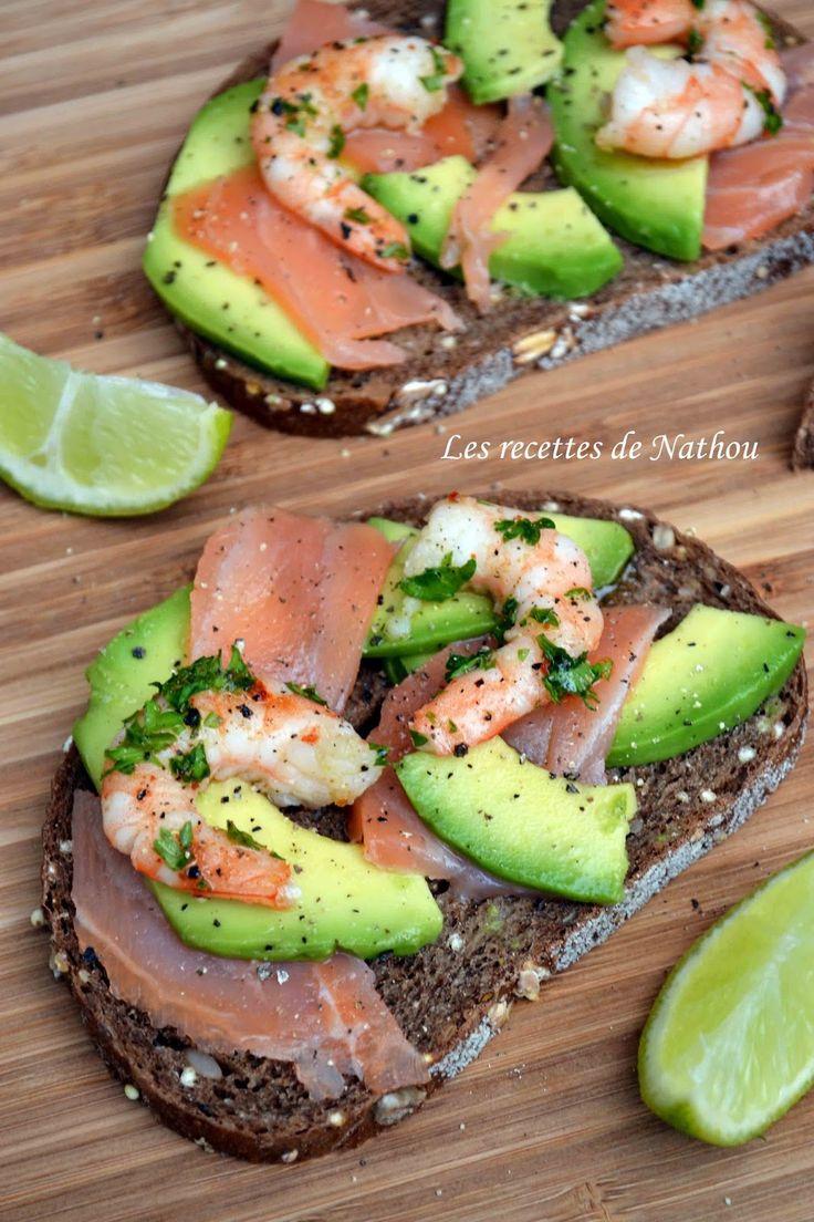 Les recettes de Nathou: Tartines au saumon fumé, avocat mariné au citron vert et crevettes persillées
