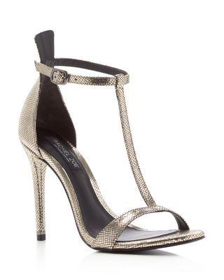 Rachel Zoe Tee Metallic Snake Embossed T Strap High Heel Sandals | Bloomingdale's