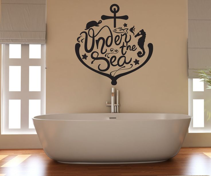 Vinyl wall decal sticker under the sea anchor and animals for Under the sea bathroom ideas