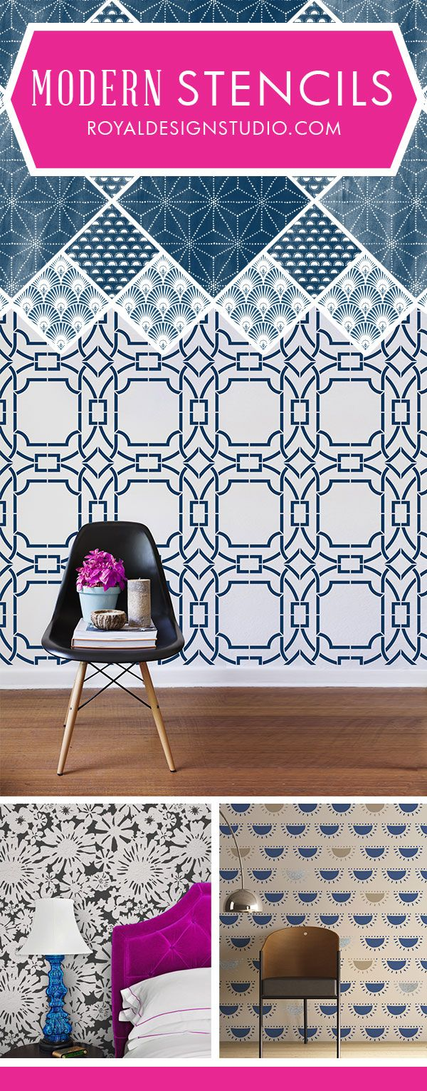 Modern Wall Stencils with Fresh, Funky, Trendy, Geometric Patterns Painted onto DIY Home Decor Projects - Wall Murals, Furniture Upcycling, Large Designer Stencils