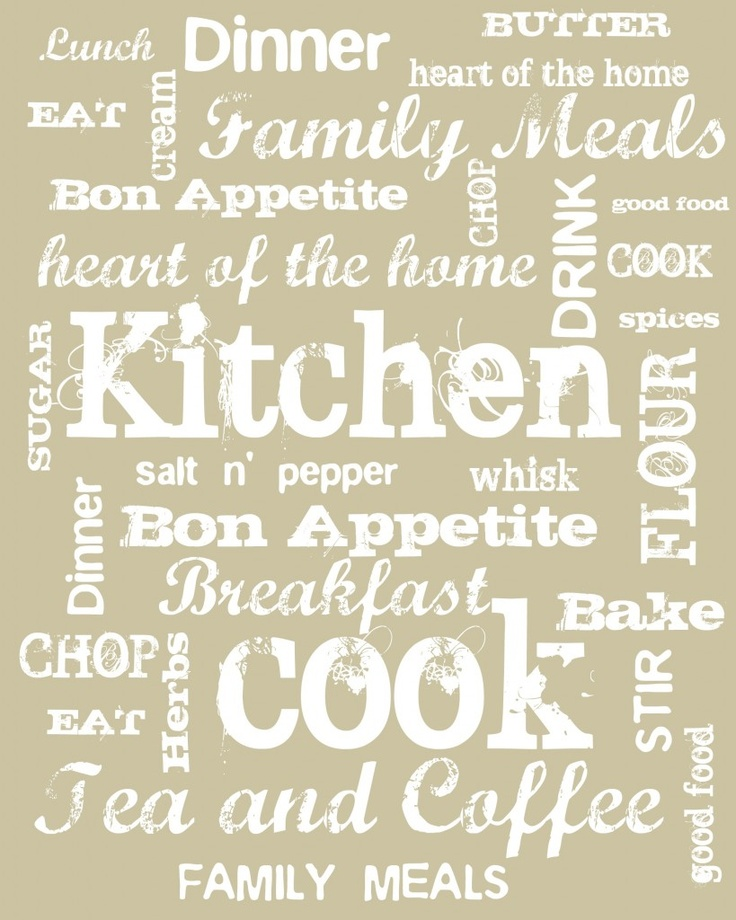 """Kitchen Subway Art-I like this but with more color.  Take out the """"Tea & Coffee"""" and write """"gourmet"""", """"delicious"""", """"homemade"""", """"brunch"""", """"snacks"""", or """"if you can't stand the heat...""""  Just some ideas."""