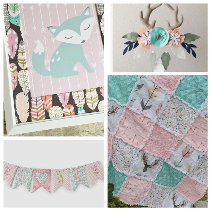 Girl Fox Nursery Decor, Pink and Aqua Nursery, Girl Woodland Nursery