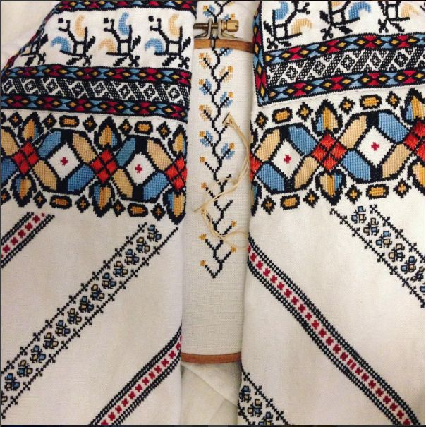Traditional Romanian blouse from the are of Botosani, embroidered by Simona Niculescu after the pattern provided by Ioana Corduneanu in semne cusute.