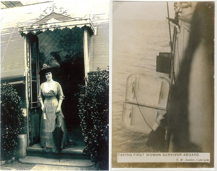 First Class Passenger, taken before Titanic sailed. & First woman survivor aboard the Carpathia.