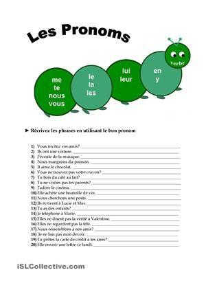 Ecrivez les phrases en utilisant les pronoms COD-COI-EN-Y - Fiches FLE