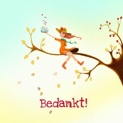 Een warme, bijzondere kaart om iemand te bedanken. Sfeervol en vrolijk! Design: Aniet Illustration. Te vinden op: www.kaartje2go.nl