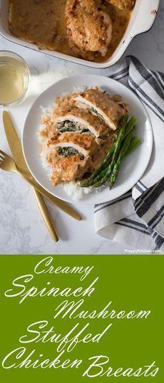 Creamy Spinach Mushroom Stuffed Chicken Breasts - Tender chicken breast stuffed with a creamy, cheesy mushroom spinach sauce | Weeknight Dinners, Easy Family meals, Quick chicken recipes, Stuffed chicken recipes #chicken #dinner #recipes #healthy #comfortfood #familymeals #casserole #stuffed #spinach