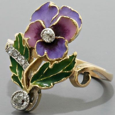 Art Nouveau Diamond, Enamel & Gold Ring: