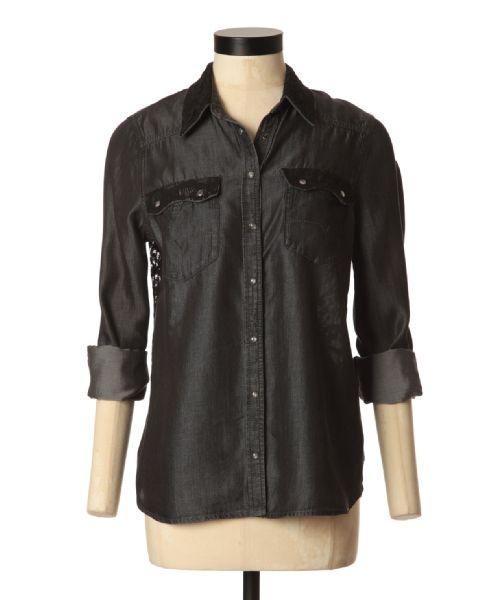 bootlegger.com : guess lace back utility chambray shirt