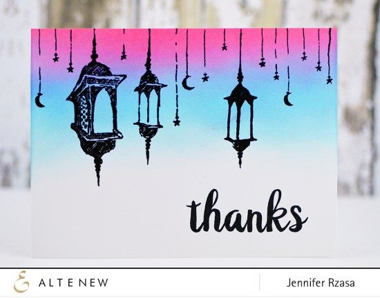 Jen created a gorgeous Thank you card using one of our newest stamp set, Eid al-Adha. Check out more of our new released stamp set on our blog. www.altenew.com