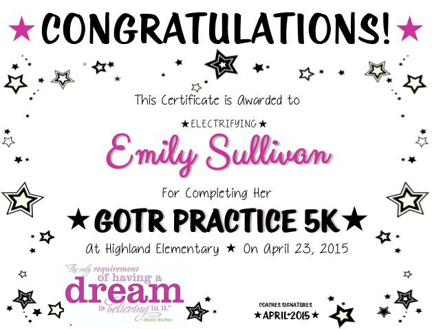Girls on the Run Practice 5K Certificate Girls on the Run Ideas - congratulations certificate