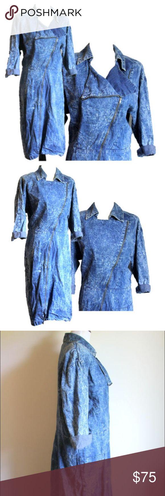 Vintage Acid Wash Denim Dress Jumpsuit Stone Wash Vintage Acid wash denim dress with zipper from skirt hem to top. Vintage size 16. Excellent Condition. 1980s stone wash blue Jean. Could fit size 12-14. Maker: Venezia 100% Cotton Venezia Dresses Long Sleeve