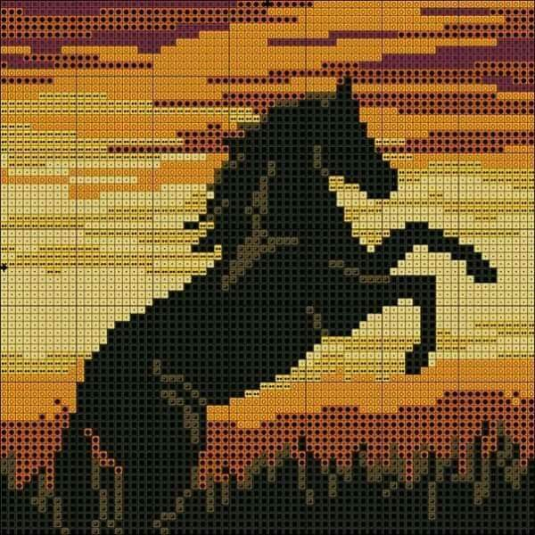 Horse in sunset x-stitch