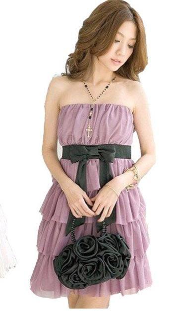 Vestido Púrpura con listón negro Talla S  $20000