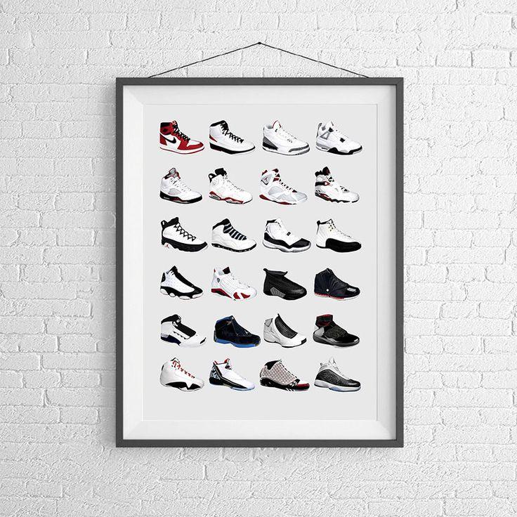 Nike Air Jordans - Jordan Poster - Nike Poster - Michael Jordan Poster - Jordan Wall Art - Shoe Art - Nike Jordan Poster - Nike Sneakers - by PigeonStudios on Etsy https://www.etsy.com/listing/236370325/nike-air-jordans-jordan-poster-nike