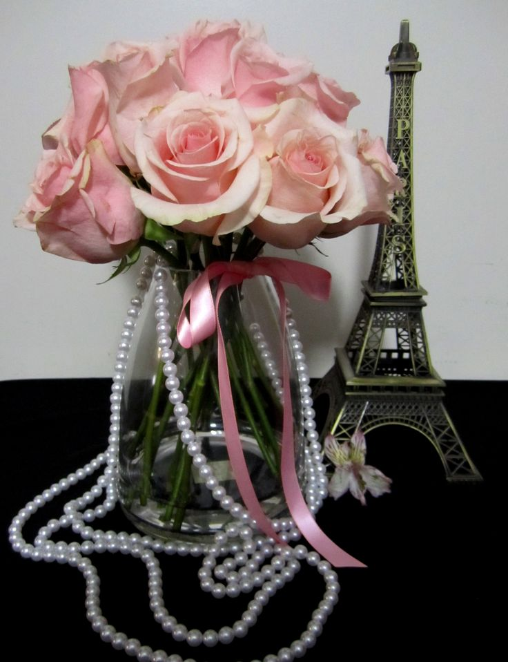 pink roses, pearls and Eiffel Tower for a Paris themed semi-formal; design by Davis Floral Creations