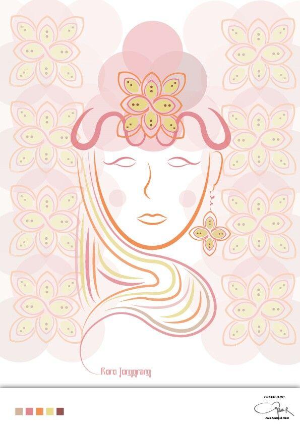 Rorojongrang vector art with batik kawung modifications..