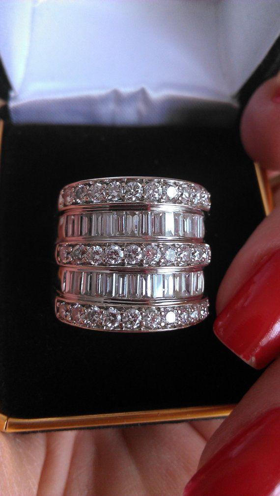 Gorgeous 14k Gold 3.50ct  Baguette Diamond Wedding Ring UNIQUE on Etsy, $5,999.00