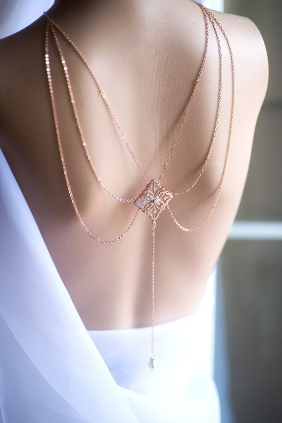 3 Strands Bridal Backdrop Necklace Crystal and Pearl Wedding Rose Gold Silver Statement Necklace Hollywood Back Drop Bridal Jewelry