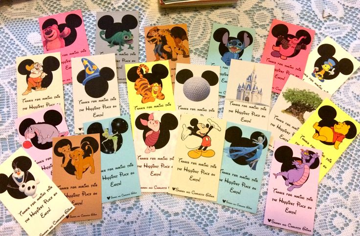 Disney Cast Member Thank you cards we made for our upcoming trip.  If you like them contact me and we can make and personalize them for you too!