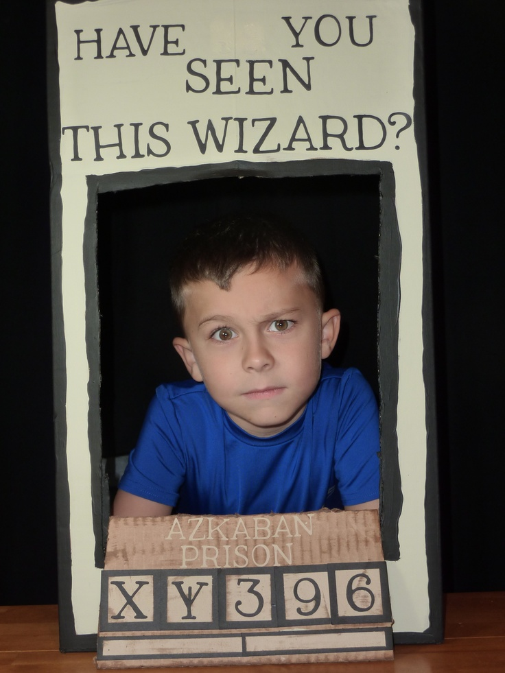 Harry Potter Fans - We took a cardboard box and created a Azkaban Prisoner photo booth for my son's birthday party. We can do the same but only super hero theme
