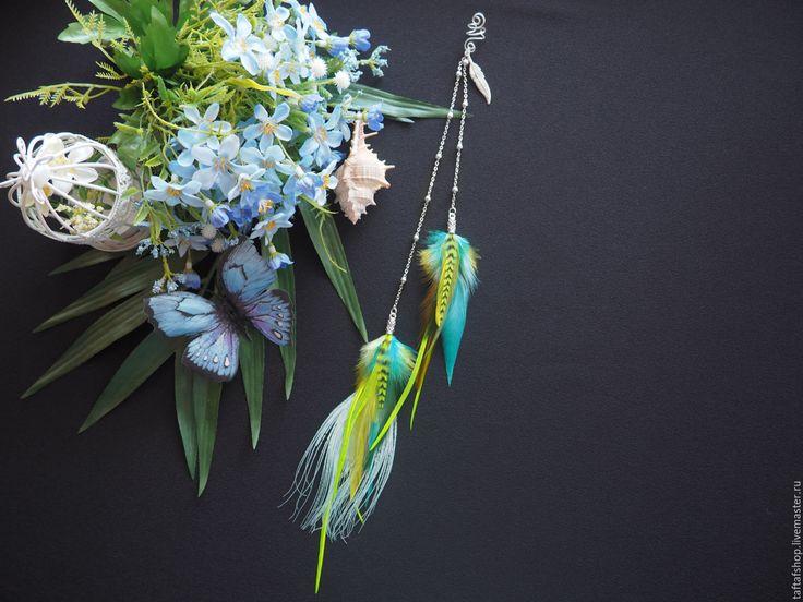 Тропическая птица - яркий кафф с длинными перьями в стиле бохо - перья, перо