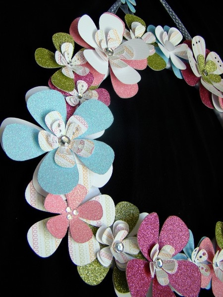 Flower wreath made using flowers cut by Cricut Expressions.  Style designs are unlimited using various Cricut cartridges.