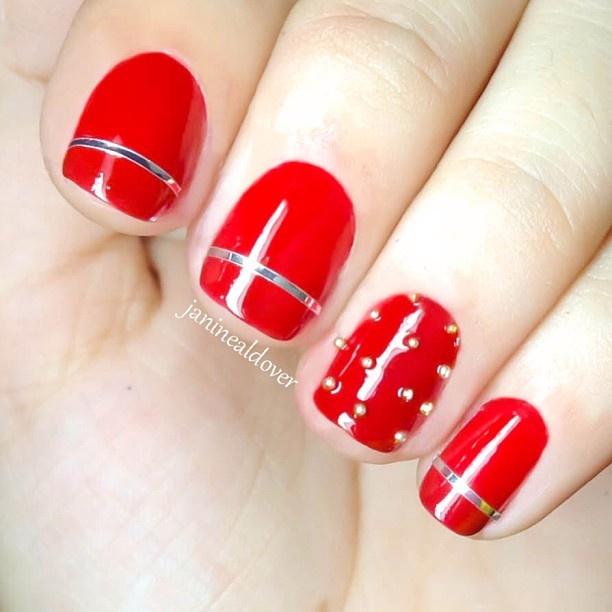 Red classy nail art ❤ - @janinealdover
