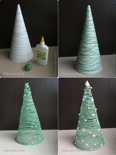 Wrap cone in yarn, paint with Elmers glue, let dry & remove cone! So doing this with white and gold yarn!