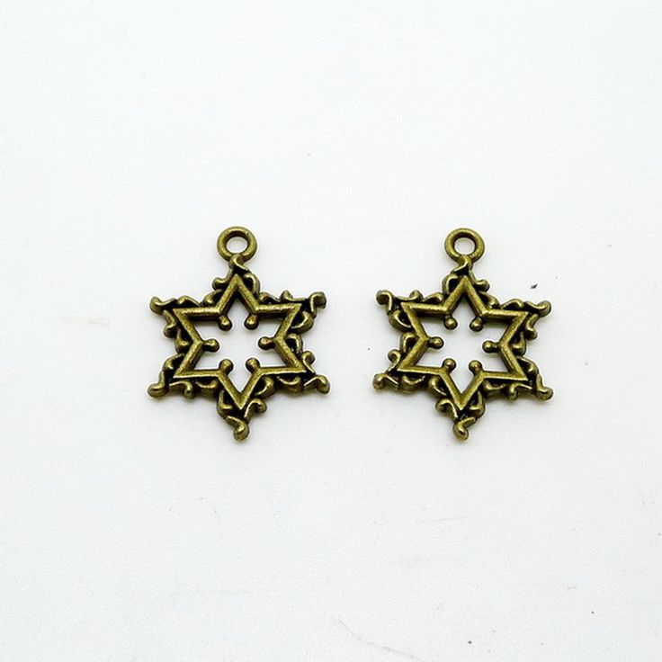 Free shipping complex star of david charm pendant 10pcs 22*18mm antique silver bronze fit bracelet necklace diy metal jewelry